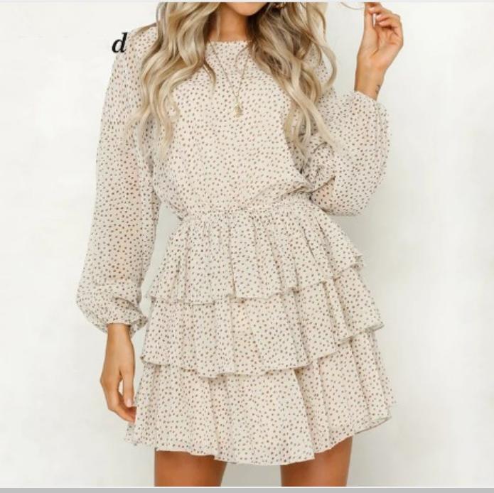 Summer Sundress Female Women Long Sleeve Polka Dot Dress White