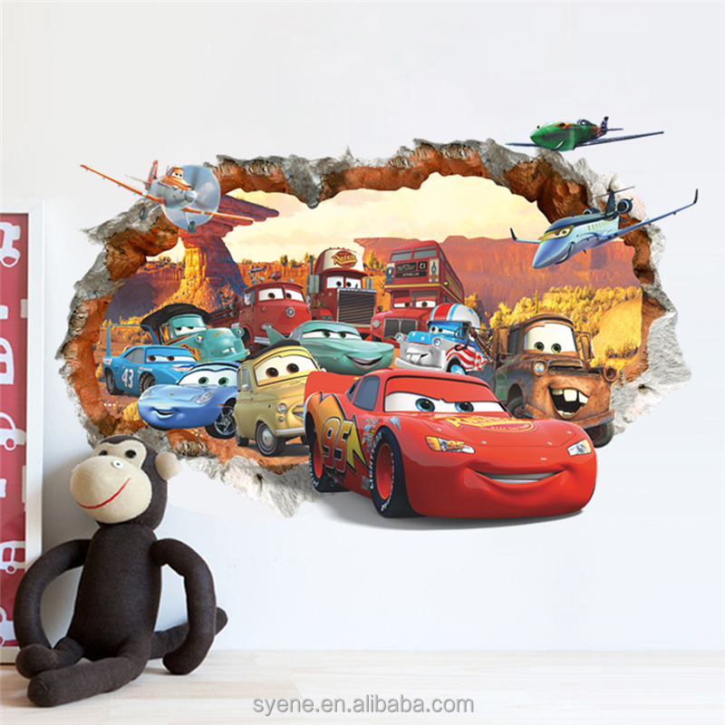 Hot New 3D creative window cartoon car wall stickers china for kids baby nursery children wallpaper cartoon wallpaper for kids