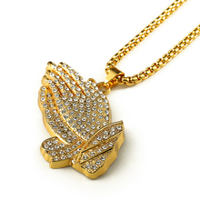 gold plated big hand stone iced out pentant necklace hip hop style long chain necklace(Big size)