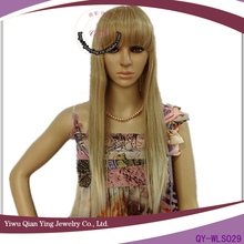 ladies straight long mixed grey synthetic wig