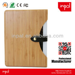 Novelty bamboo case for ipad with real leather closure