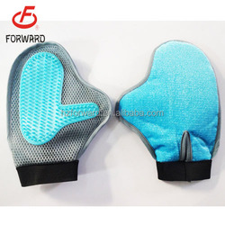 TPR+mesh fabric two face massage brush pet grooming brush glove for wholesale
