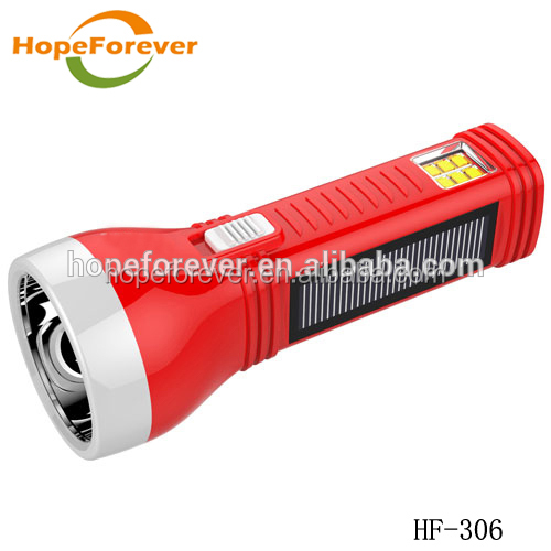 HF-306 Portable LED torch keychain with solar power panel led flashlight