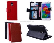 Stand Book Wallet Real Leather Case Cover Pouch for Samsung Galaxy S5 i9600 Case