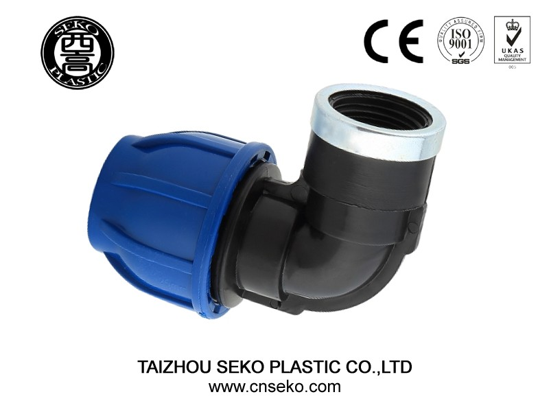 china factory pp compression fitting price list female thread 90 degree elbow