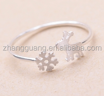 2016 New Style Metal Dog And Snowflake Rings