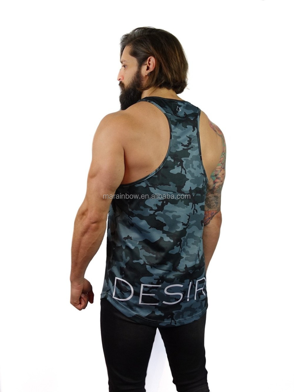 Micro Mesh dry fit elongated tank top Mens Longline Curved Hem Tank Top Camo Basketball Jersey Racerback Sublimated Vests