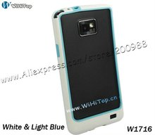 For Samsung Galaxy S2 i9100 Bumper Frame Case Skin TPU Cover + Color White&Light Blu + 10 Colors for Choice + Retail Box Packing