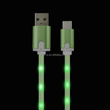 factory promotional Type C to USB cord 100cm glow flash mobile phone data charger cable