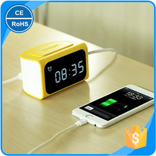 Digital Alarm Clock with Phone Charger Time Display Charging with 4 USB Charging LCD Display Mobile Phone Charging Desk Clock