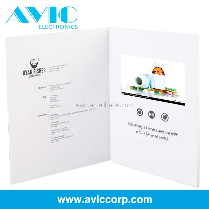 LCD Business gift/video card/TFT screen video greeting card for weding invitation