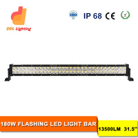 Newest!!! 180W amber led off road light bar double row fog lights 31.5 inch amber led strobe light