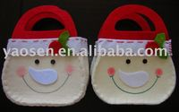fabric Christmas gifts tote bag with smiling face design