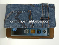 new arrival jeans leather cover for Apple ipad mini trousers pants shaped case with stand pocket