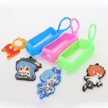 Promotional gifts 3D cartoon characters can be customized silicone hand sanitizer bottle with holder