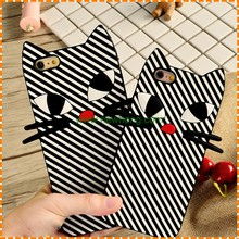 Cartoon Animal Cat Shape Stripe Soft Silicon case for iphone 7
