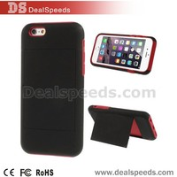 Detachable PC + Silicone Stand Case with Card Slot for iPhone 6 - Black