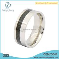Fashion titanium steel mens band ring,black carbon fiber ring jewelry