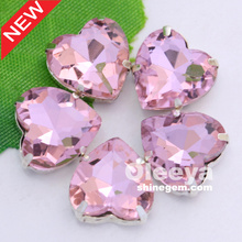 Full colors sizes glass heart shape light pink sew on rhinestones with claw for t shirt design