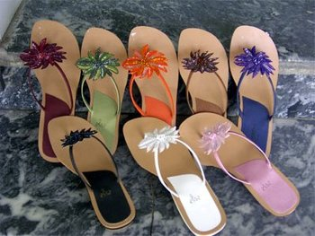 Beads N Sequins Flower Flip Flop Thong Sandals