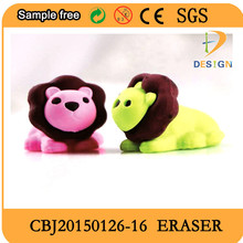 2017 trending products taobao hot sale get free samples To develop Animals 3d puzzle Lion shaped eraser,promotion eraser