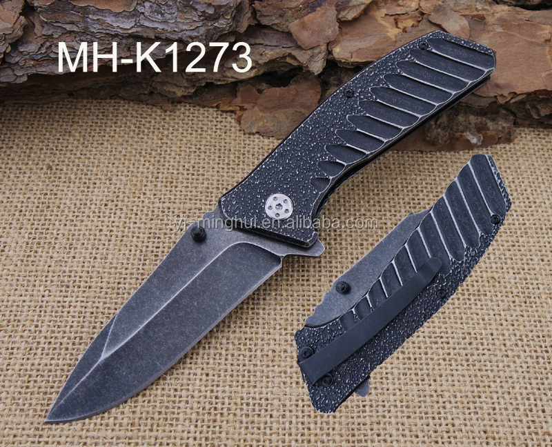 Stainless steel assisted opening stonewash finished folding knife