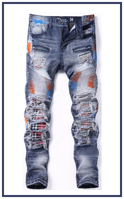 Ripped damage innovative design denim jeans new hot model mainstream men pants