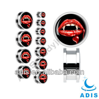 stainless steel logo flesh tunnel ear stretchers plugs piercing jewelry