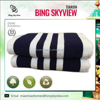 100% cotton blue white striped bath towel