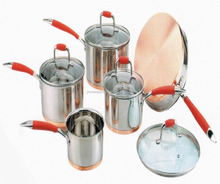 9pcs set stainless steel copper super capsule bottom prima cookware