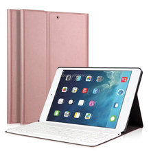 Ultra Slim Stand Cover+Magnetical Detachable Wireless Bluetooth Keyboard for Apple iPad Air1/Air2/New iPad 9.7 2017 (Roseglod})