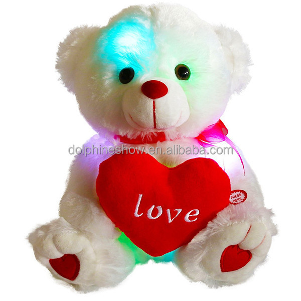 Musical Night Light Up White Teddy Bear Plush Toy With Red Heart Custom LOGO Pretty Stuffed Soft Plush LED Valentine Teddy Bear
