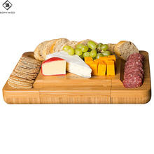 Wholesale custom natural bamboo wood cheese cutting board set