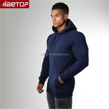 Gym clothing men no zipper hoodie jacket wholesale thin bule athletic hoodie with fitness