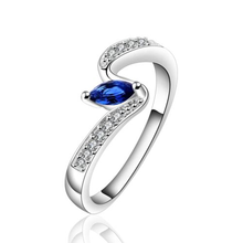 925 Sterling silver plated curve exquisite sapphire jewelry ring