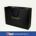 Luxury black shopping paper bag with golden logo,gold foil stamping paper bag with gloss lamination