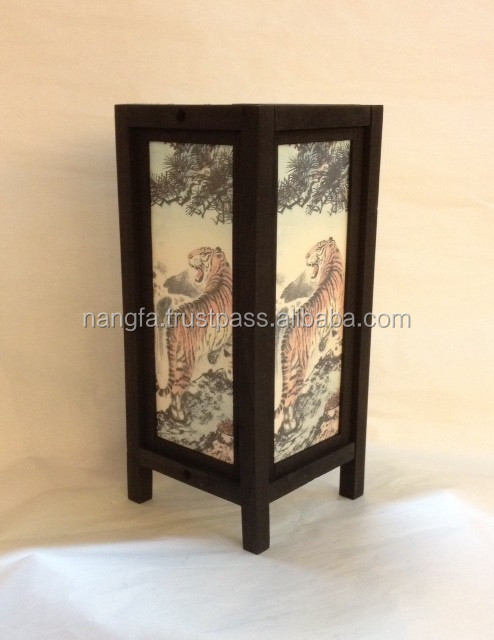 Asian tiger motive table lamp featuring wood + saa paper
