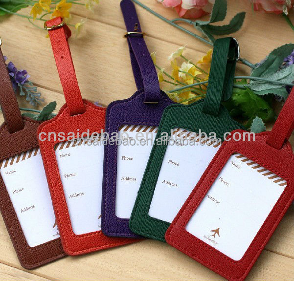simple style PU leather luggage tag