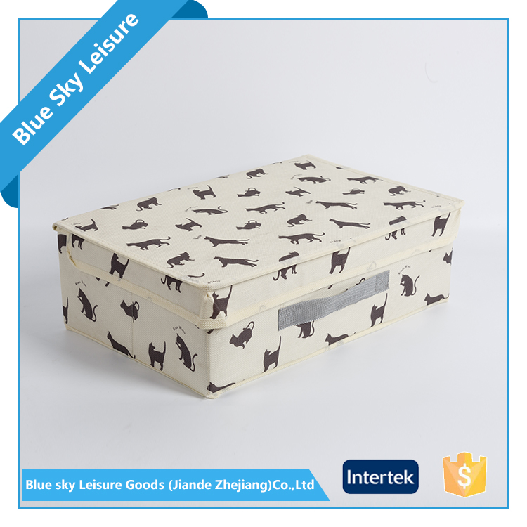Small Portable PET Fabric Non Woven Printed Foldable Pretty Storage Boxes