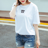 Embroidery Factory Women's White tee Custom Printing Lady's High Quality Longline t shirts