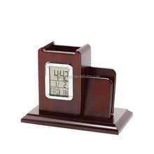 Creative Place Card Holder Design Wooden Pen Holder with LED Clock for Corporate Office Gifts