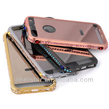 New Bling Diamond Metal Bumper Mirror Back Cover aluminum frame Case For iPhone5 5s