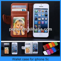 Leather Magnetic Flip Folio IC Card Wallet Stand Purse photo frame wallet Case For iPhone 5C(PT-I5C202)