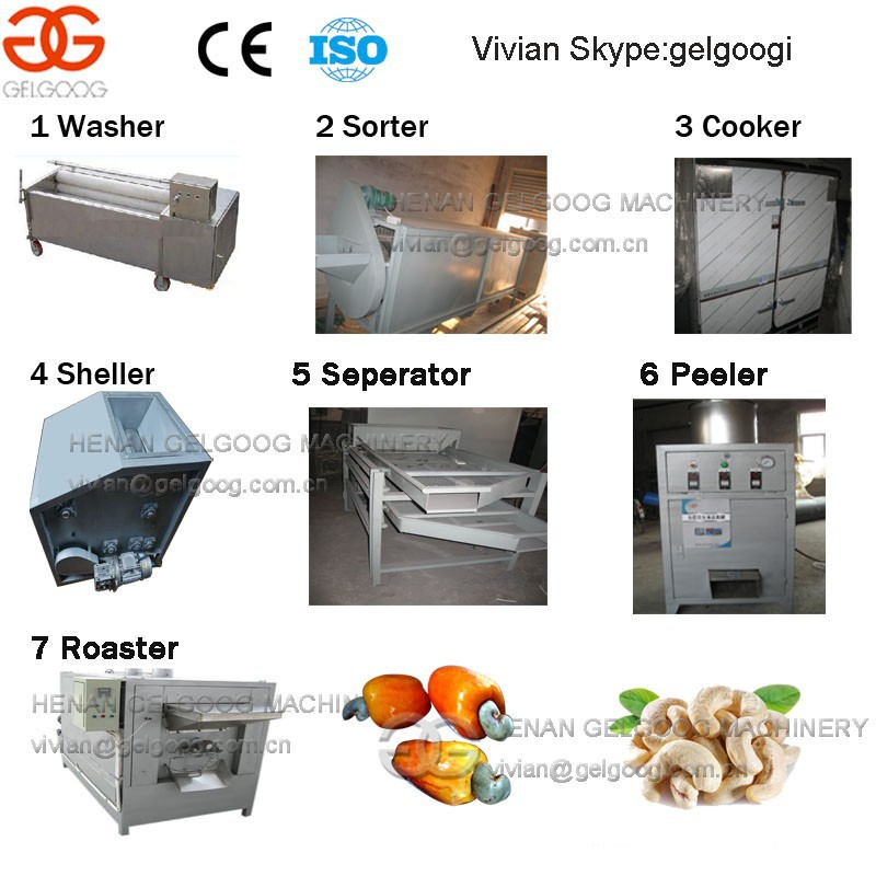 Small Capacity Raw Cashew Nut Processing Equipments| New Plant Use Cashew Nut Sorting Shelling Roasting Machines for Sale
