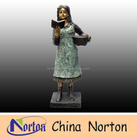 Bronze small girl reading book sculpture NTBH-C433R