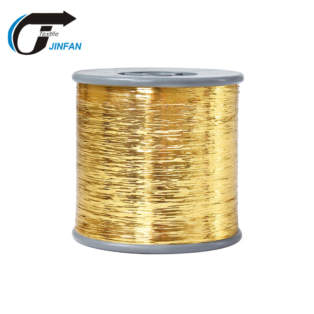Gold metallic yarn colored PET film M Type lurex yarn
