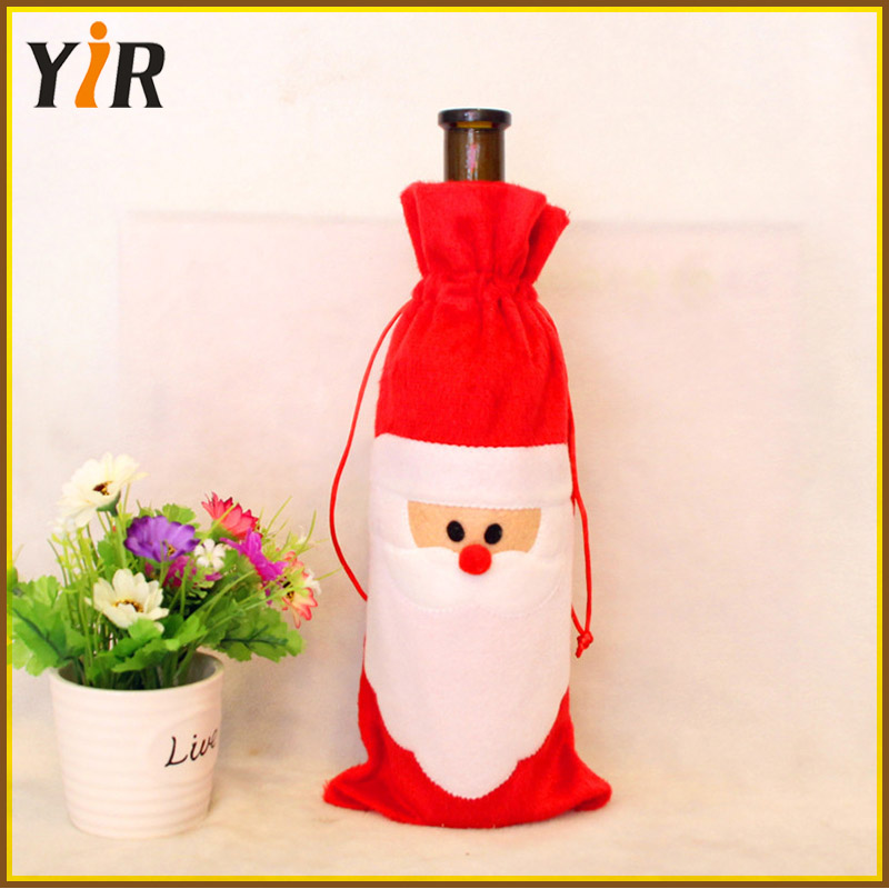 Hot Selling Christmas Decor Ornament Santa Claus Red Wine Bottle Cover
