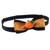 Halloween Series color Black high quality colorful pet bow tie have stock with Plastic Pumpkin V1188