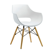 White pp plastic restaurant side dining chair with beech wood leg