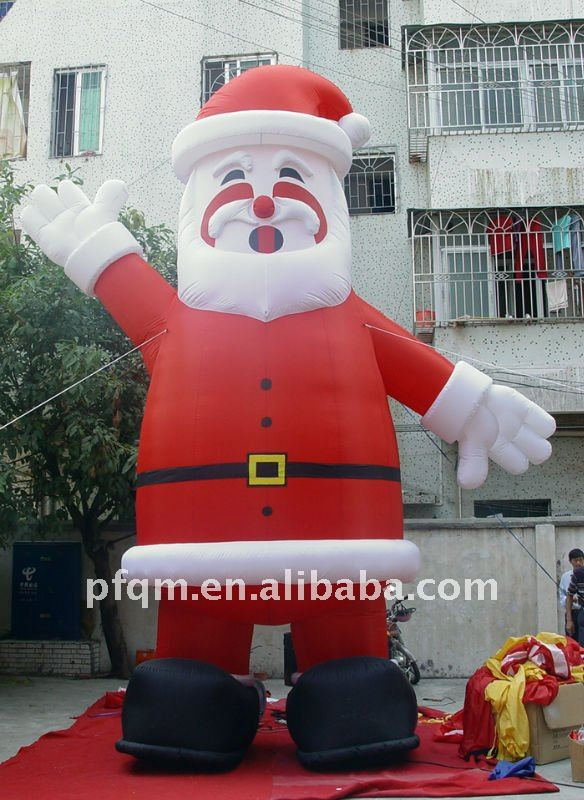 outdoor plastic santa claus/inflatable santa claus christmas decoration